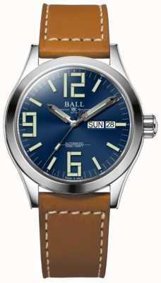 Ball Watch Company Inżynier ii geneza niebieska tarcza skórzana opaska dzień i data NM2026C-LBR7-BE