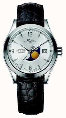Ball Watch Company Faza skórzana w Ohio z automatyczną srebrną skórzaną datą NM2082C-LJ-SL