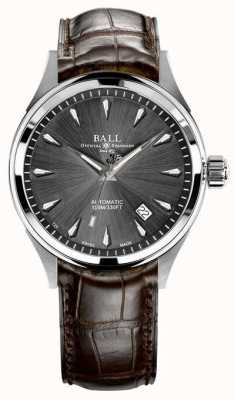 Ball Watch Company Trainmaster legenda szary sunray tarcza brązowy skórzany pasek NM3080D-LJ-GY