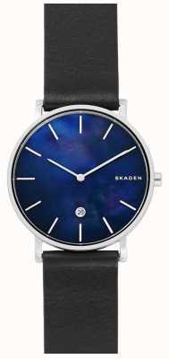 Skagen Mężczyzna hagen czarny skórzany pasek niebieski zegarek SKW6471