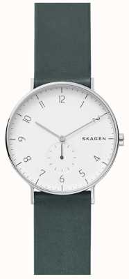 Skagen Męski zegarek w zielonym skórzanym pasie SKW6466