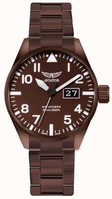 Aviator | męskie | airacobra p42 | zegarek ze stali pokrytej brązem | V.1.22.8.151.5