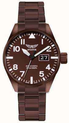 Aviator Męskie zegarki ze stali nierdzewnej aircobra p42 V.1.22.8.151.5