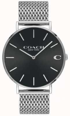 Coach Męski zegarek ze srebrnej bransoletki z czarną siatką i czarną tarczą 14602144