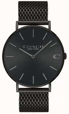 Coach Mens charles czarna bransoletka z czarnej siatki zegarek 14602148