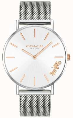 Coach Damski zegarek z perwersyjnej srebrnej siatki 14503124