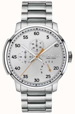 Coach Męski srebrny zegarek wielofunkcyjny typu bleecker 14602358