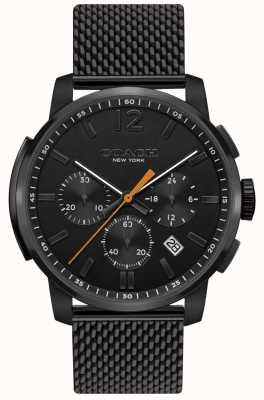 Coach Męski wielofunkcyjny zegarek z chronografem | czarny pasek z siatki 14602344