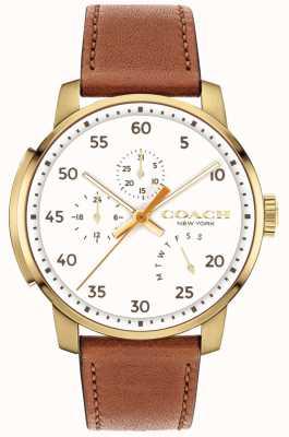 Coach Męski zegarek typu bleecker z wielofunkcyjną białą tarczą 14602340