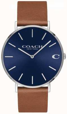 Coach Charles męski brązowy skórzany pasek z niebieską tarczą 14602151