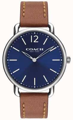 Coach Mens delancey slim watch niebieska tarcza brązowy skórzany pasek 14602345