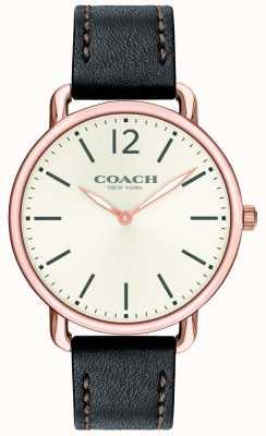 Coach Mens delancey slim watch biały czarny skórzany pasek wybierania 14602347