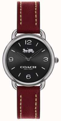 Coach Damski zegarek delancey slim w czerwonym skórzanym pasie 14502792