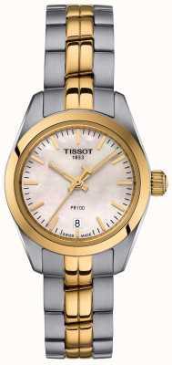 Tissot Zegarek damski pr100 dwukolorowy zegarek z masy perłowej T1010102211100