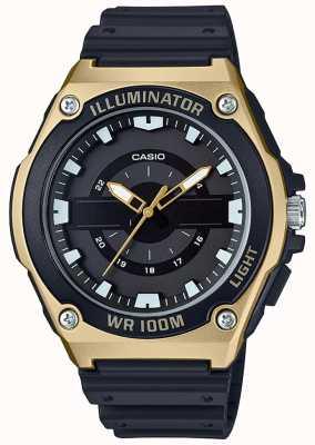 Casio Męski czarno-złoty zegarek z żywicy MWC-100H-9AVEF