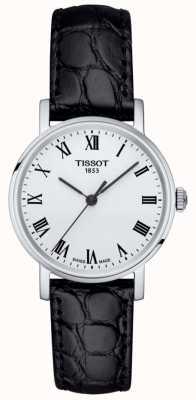 Tissot Damski klasyczny czarny skórzany pasek za każdym razem z białą tarczą T1092101603300