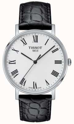 Tissot Męskie za każdym razem czarny tłoczony skórzany pasek biały wybierania T1094101603301