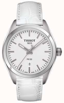 Tissot Damski pr100 biały skórzany pasek srebrna tarcza T1012101603100