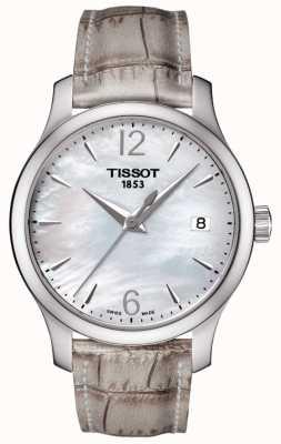 Tissot Damska tradycja z masy perłowej, szary pasek T0632101711700