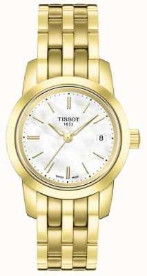 Tissot Damska klasyczna masa perłowa wybierana pozłacaną bransoletką T0332103311100