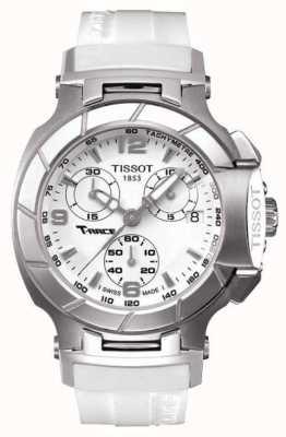 Tissot Męski t-race chronograf biały gumowy pasek biała tarcza T0482171701700