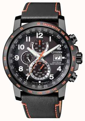 Citizen Męski chronograf sterowany radiowo, skórzany, ekologiczny zegar światowy AT8125-05E