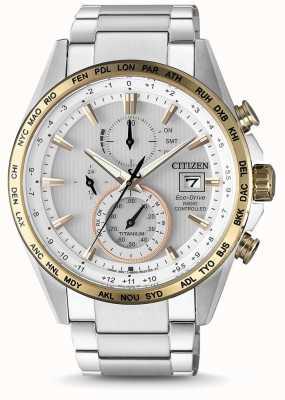 Citizen Męski sterowany radiowo eko-napędowy tytanowy zegar światowy AT8156-87A