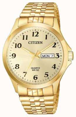 Citizen Męski zegarek z datownikiem z bransoletą w kolorze złotym BF5002-99P
