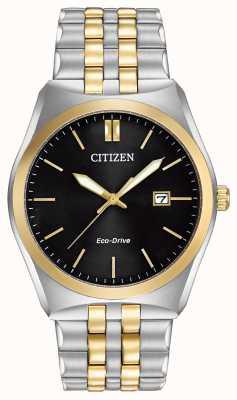 Citizen Męski zegarek Corso Eco-Drive ze stali nierdzewnej i złota z czarną tarczą BM7334-58E