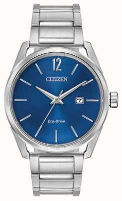 Citizen Eksluzywny wyświetlacz daty z niebieskim wyświetlaczem ze stali nierdzewnej dla mężczyzn BM7410-51L
