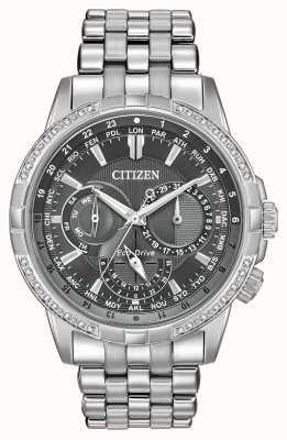 Citizen Eco-drive kalendarz stal nierdzewna 32 szara tarcza z diamentami BU2080-51H