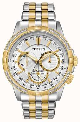 Citizen Męskie kalandrowanie eko-dysk w dwóch odcieniach 32 diamenty srebrnej tarczy BU2084-51A
