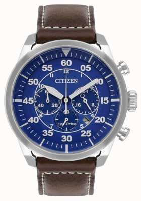 Citizen Męski pasek avion eco-drive z niebieską tarczą, brązowy skórzany pasek wr100 CA4210-41L