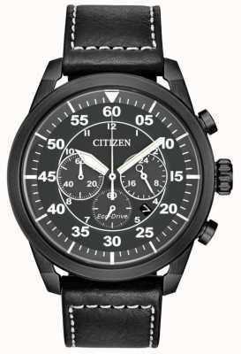 Citizen Męski, czarny, skórzany, chronograf z czarnym akrylowym wyświetlaczem CA4215-21H