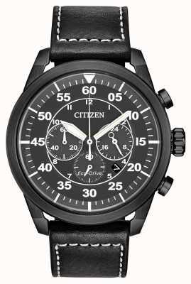 Citizen Męski chronograf avion eco-drive z czarną skórą i czarną tarczą CA4215-21H
