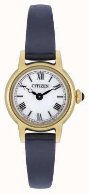 Citizen Damski ekologiczny niebieski skórzany pasek pozłacany biały cyferblat EG2995-01A