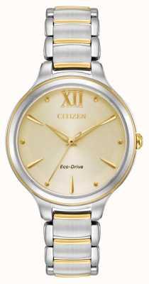 Citizen Eko-dysk dla kobiet dwukolorowa złota koperta wr50 EM0554-82X
