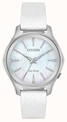 Citizen Eko-dysk ze skóry damskiej z srebrnym skórzanym paskiem EM0590-03D