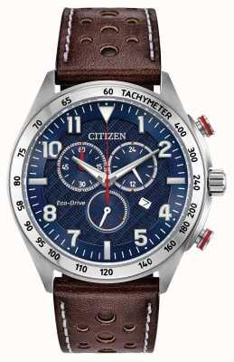 Citizen Męski eco-drive niebieska tarcza brązowa skóra chrono 100m AT2418-00L