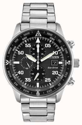 Citizen Męski chronograf Aviator Eco-Drive z czarną tarczą ze stali nierdzewnej 100m CA0690-53E