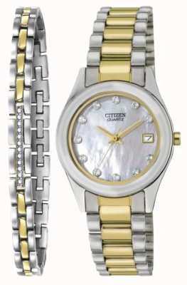 Citizen Damski zegarek kwarcowy z masy perłowej i zestaw bransoletek EU2664-59D-SETR