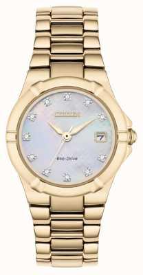 Citizen Damska tarcza diamentowa ze stopu eco-drive, pozłacana, w kolorze różowego złota EW1533-50D