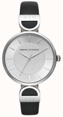 Armani Exchange Brooke damska czarna skórzana srebrna tarcza AX5323