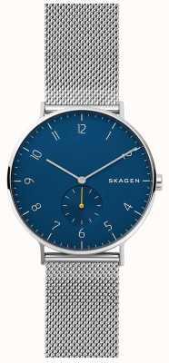 Skagen Aaren męska stalowa siatka niebieska tarcza SKW6468