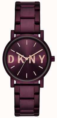 DKNY Soho damska fioletowa bransoletka z platerami NY2766