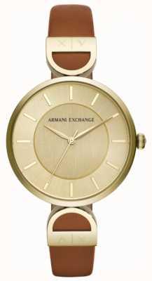 Armani Exchange Brooke damski brązowy skórzany pasek AX5324
