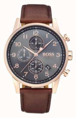 Boss Wyświetlacz daty chronografu nawigatora czarna tarcza brązowa skóra 1513496