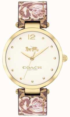 Coach Damski park zegarkowy skórzany pasek w złotym kolorze 14503178