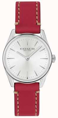 Coach Zegarek damski nowoczesny luksusowy czerwony skórzany pasek 14503205