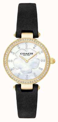 Coach Damski nowoczesny luksusowy czarny skórzany pasek z masy perłowej 14503103